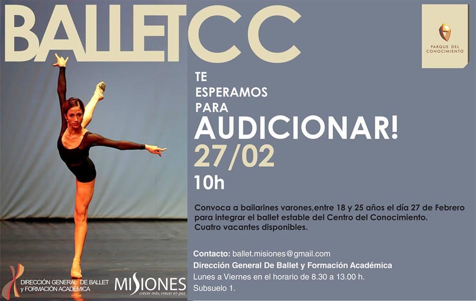 Ballet Centro del Conocimiento Audicion para Varones