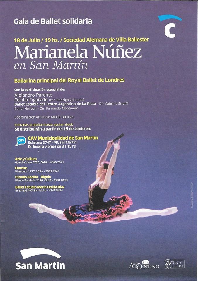 Marianela Nuñez participará nuevamente en un evento solidario en San Martín, su ciudad de origen.