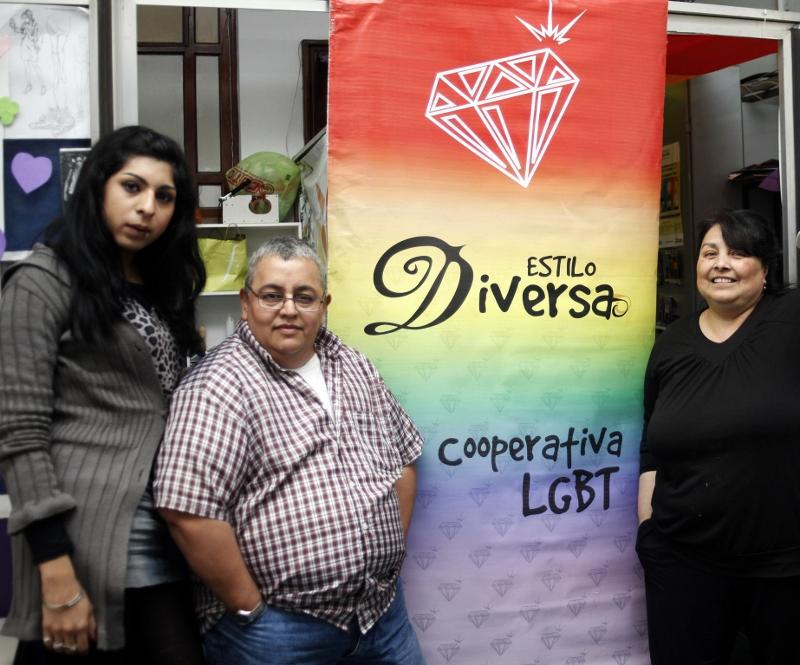 Orgullo. Afra Galván, Kalym Soria y Soledad Gómez, en Diversa. Foto: Gentileza.