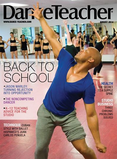 "Jason Warley, en la tapa de ""Dance Teacher's"" Magazine, en agosto de 2014."