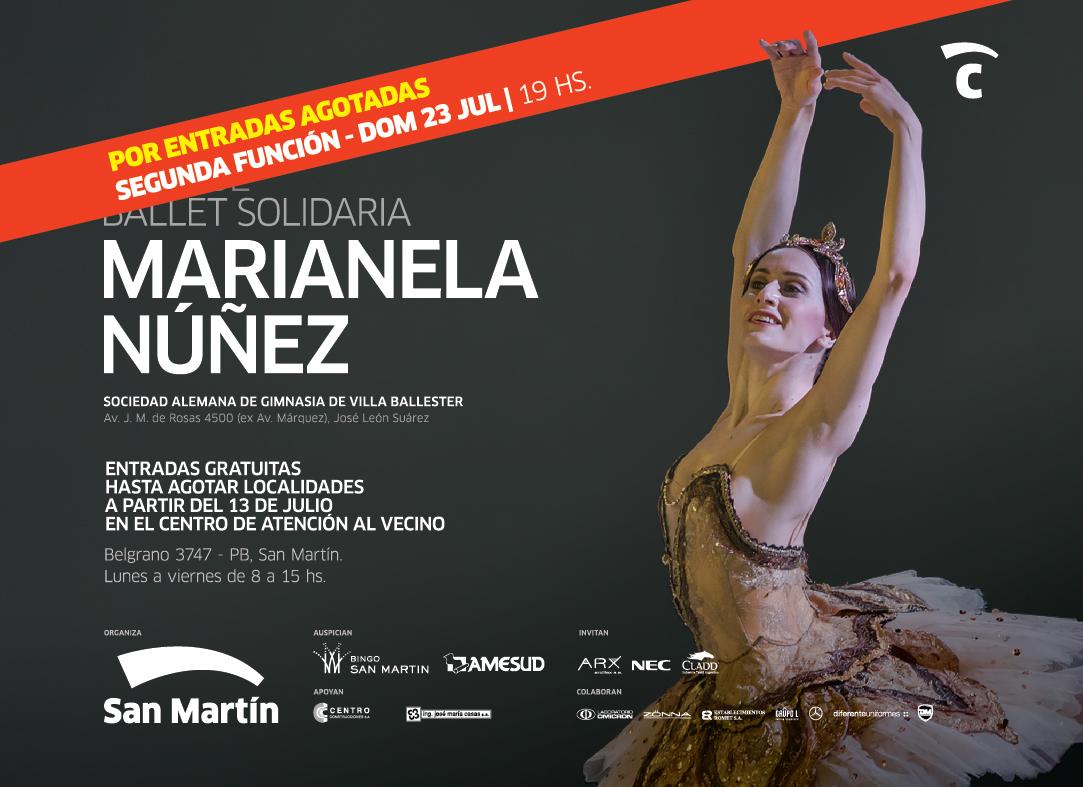 Marianela Núñez brindará una segunda gala solidaria para San Martín